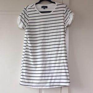 Cafe Society Black and Cream Striped Dress